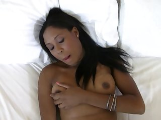 Horny ebony with a big butt plays with a..