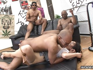 Three black men destroy the Asian sluts..
