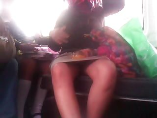 Carolina open legs on the bus