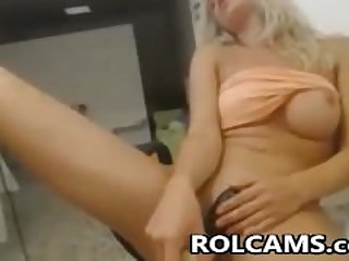 Nasty Blonde Teen Toying Pussy On Chair