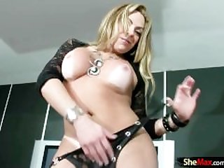 Blonde shemale teases bigtits and cums..